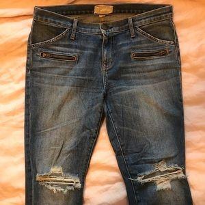 Current/Elliott Jeans - Current/Elliott Stiletto Biker Distressed Jeans